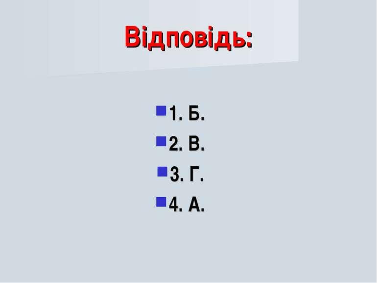 Відповідь: 1. Б. 2. В. 3. Г. 4. А.