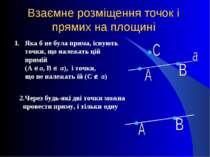 Взаємне розміщення точок і прямих на площині Яка б не була пряма, існують точ...