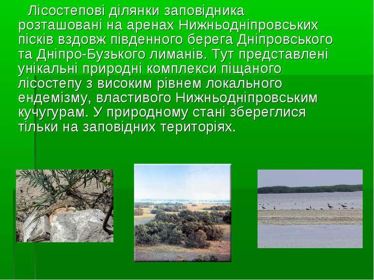 Лісостепові ділянки заповідника розташовані на аренах Нижньодніпровських піск...