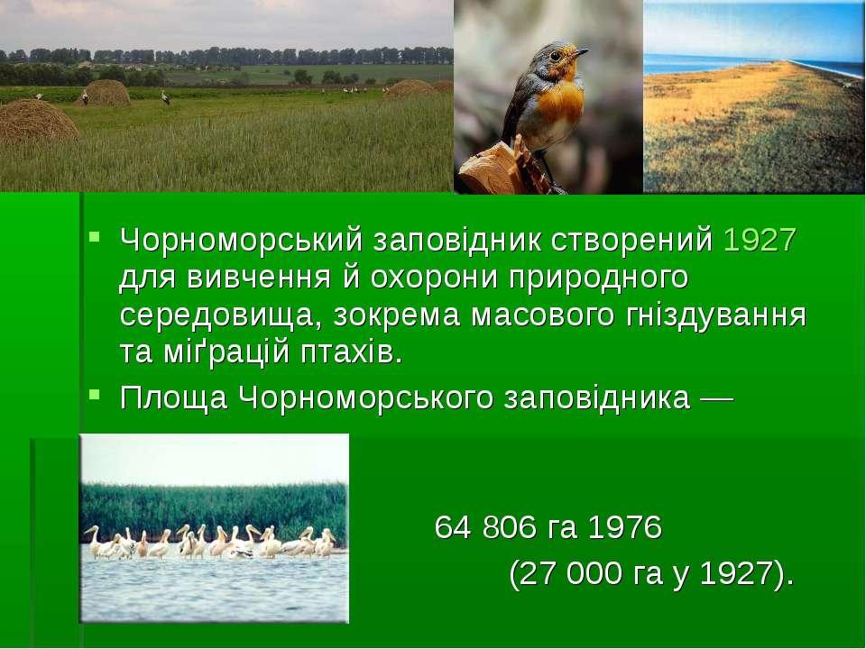 Чорноморський заповідник створений 1927 для вивчення й охорони природного сер...