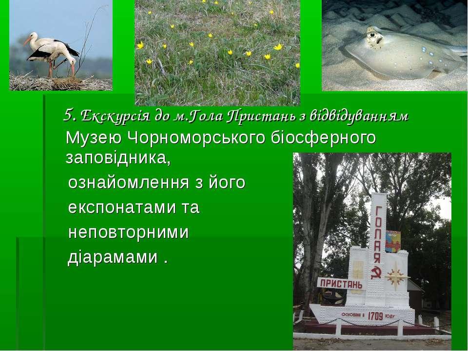 5. Екскурсія до м.Гола Пристань з відвідуванням Музею Чорноморського біосферн...