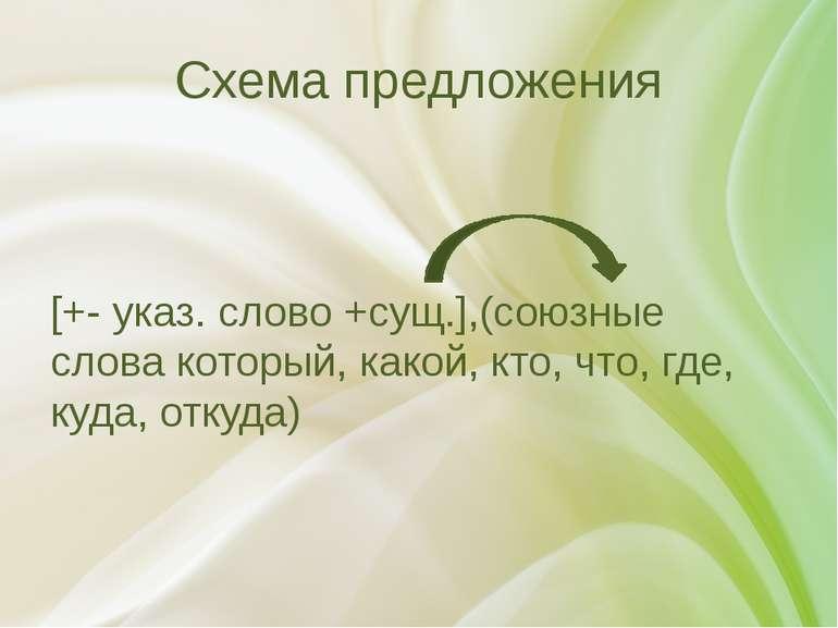 Схема предложения [+- указ. слово +сущ.],(союзные слова который, какой, кто, ...