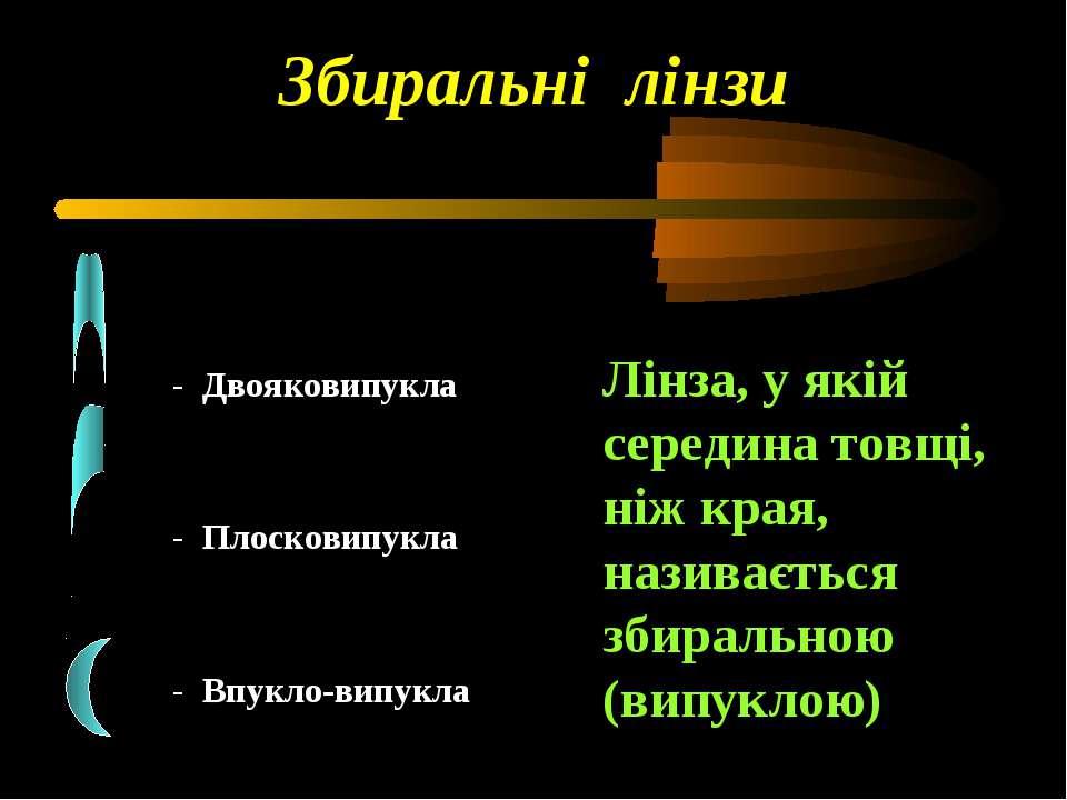 Лінза, у якій середина товщі, ніж края, називається збиральною (випуклою) Зби...