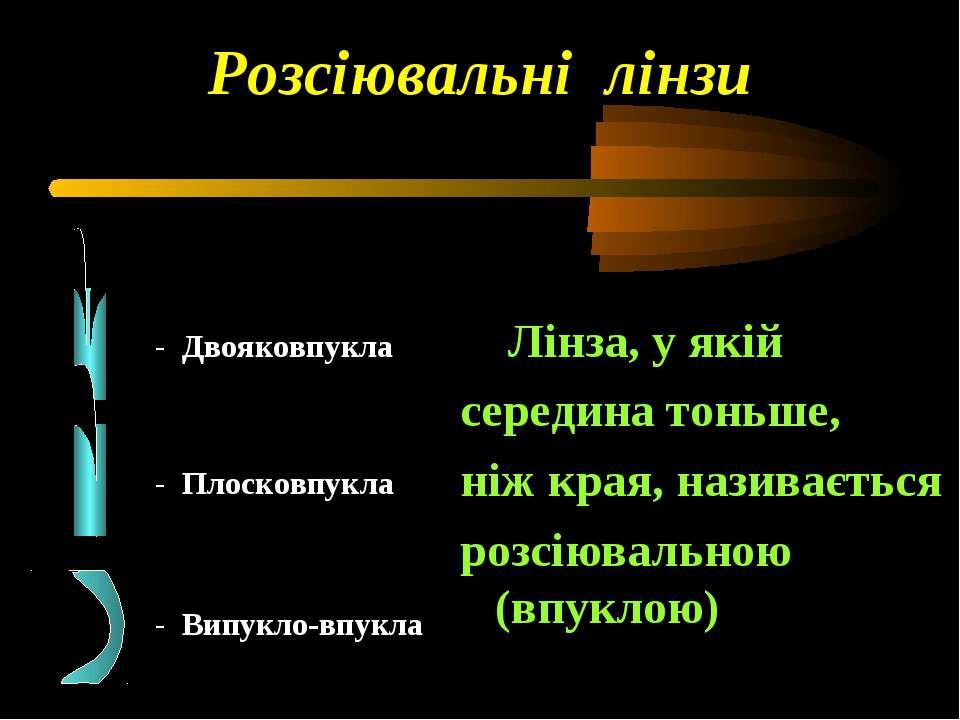 Розсіювальні лінзи - Двояковпукла - Плосковпукла - Випукло-впукла Лінза, у як...