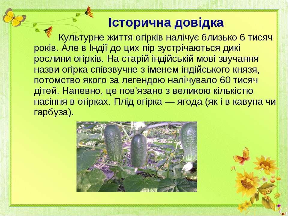 Історична довідка Культурне життя огірків налічує близько 6 тисяч років. Але ...