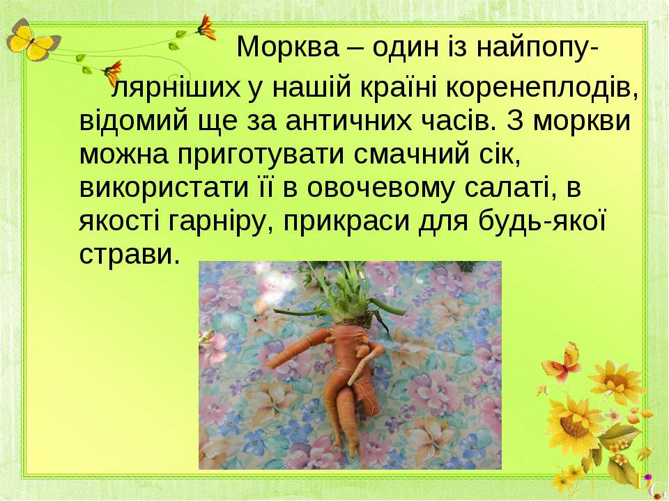 Морква – один із найпопу- лярніших у нашій країні коренеплодів, відомий ще за...