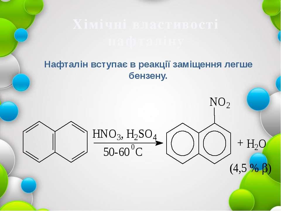 Хімічні властивості нафталіну Нафталін вступає в реакції заміщення легше бенз...