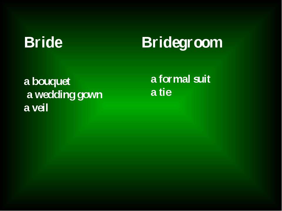 Bride Bridegroom a bouquet a wedding gown a veil a formal suit a tie