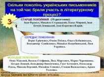 Скільки поколінь українських письменників на той час брали участь в літератур...