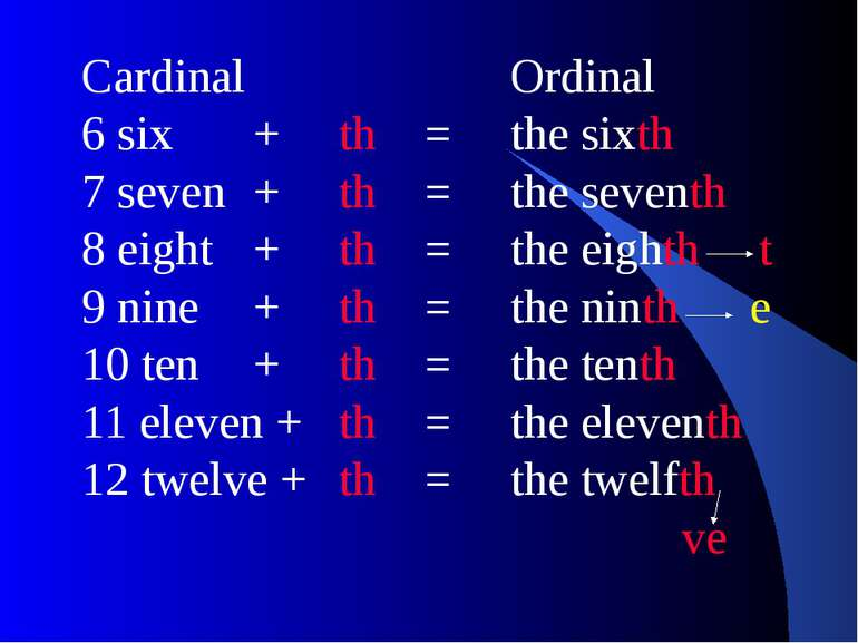 Cardinal Ordinal 6 six + th = the sixth 7 seven + th = the seventh 8 eight + ...