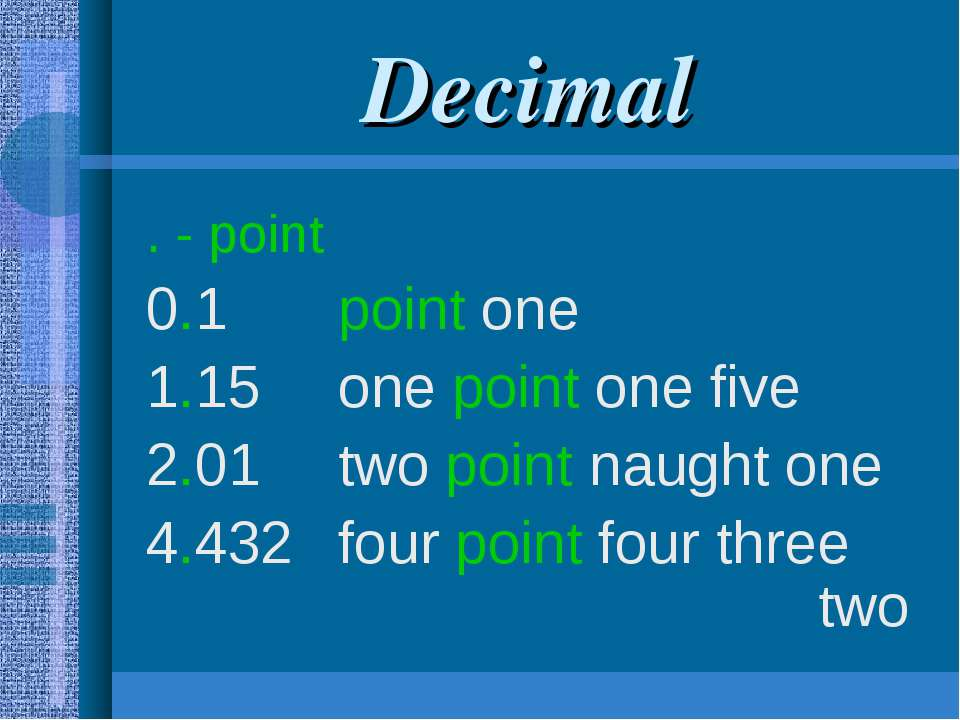 Decimal . - point 0.1 point one 1.15 one point one five 2.01 two point naught...