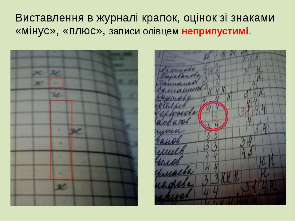 Виставлення в журналі крапок, оцінок зі знаками «мінус», «плюс», записи олівц...