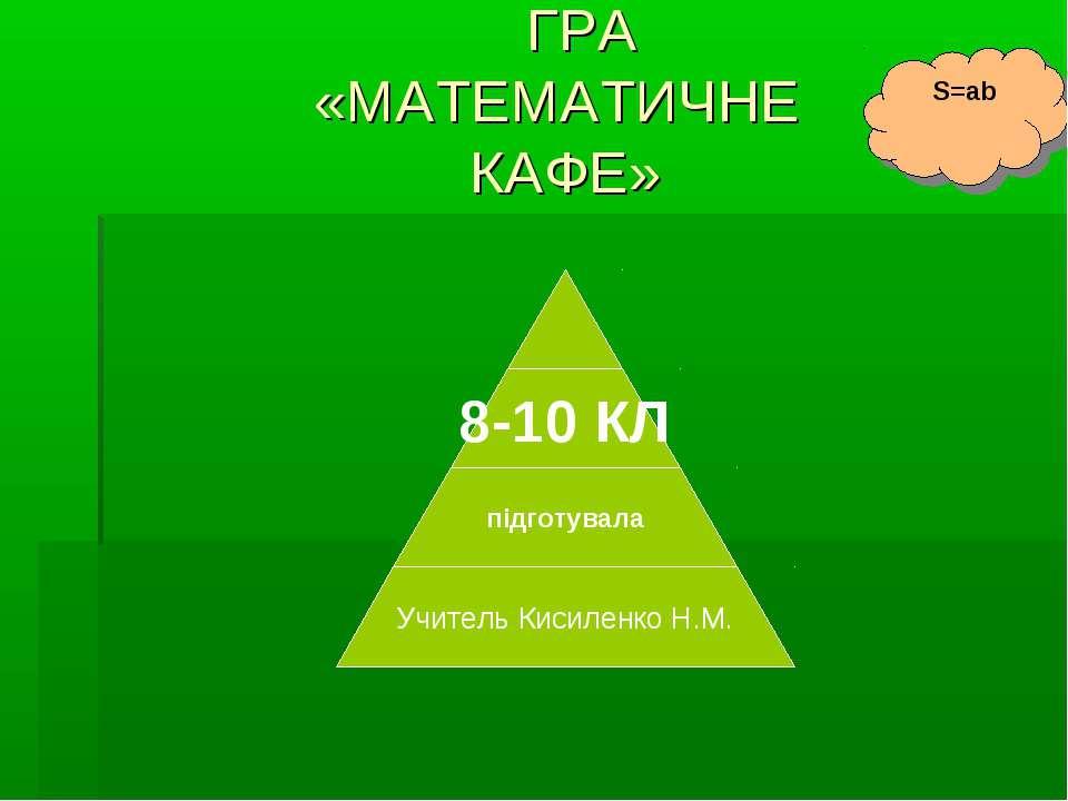 ГРА «МАТЕМАТИЧНЕ КАФЕ» S=ab
