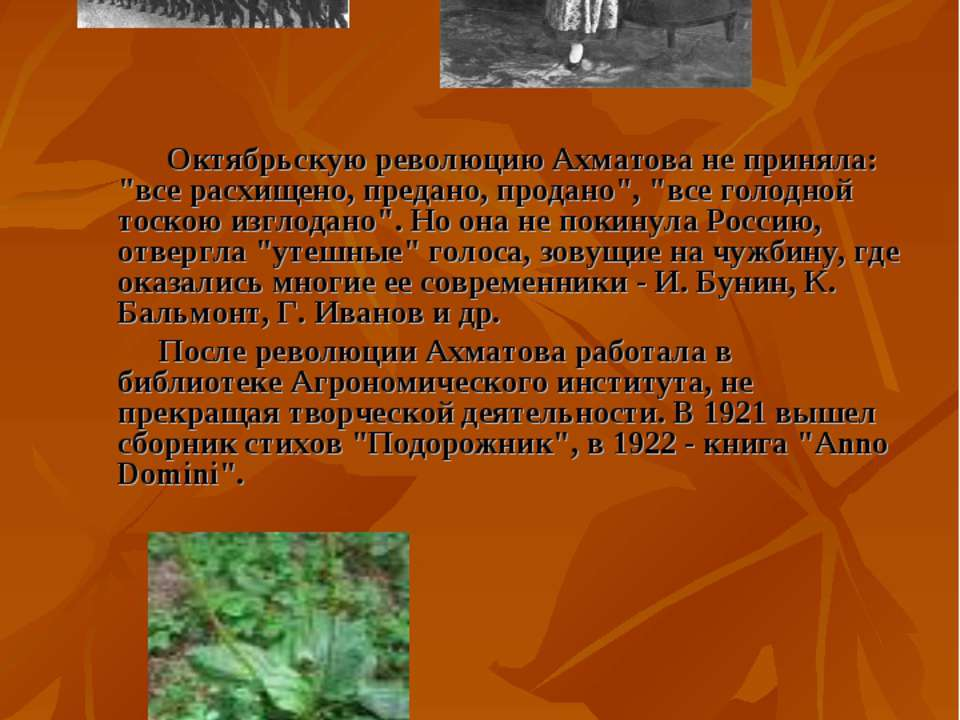 """Октябрьскую революцию Ахматова не приняла: """"все расхищено, предано, продано"""",..."""
