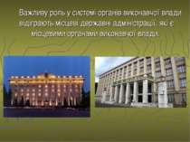 Важливу роль у системі органів виконавчої влади відіграють місцеві державні а...