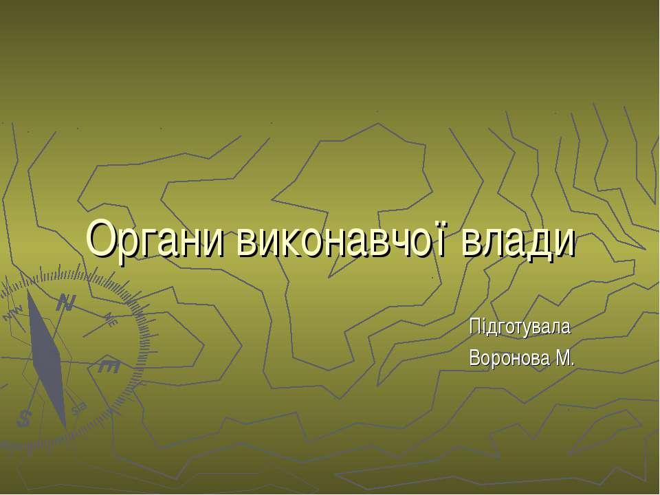 Органи виконавчої влади Підготувала Воронова М.