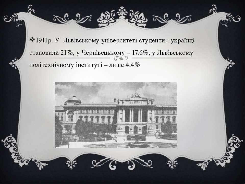 1911р. У Львівському університеті студенти - українці становили 21%, у Чернів...