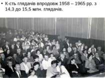 К-сть глядачів впродовж 1958 – 1965 рр. з 14,3 до 15,5 млн. глядачів.