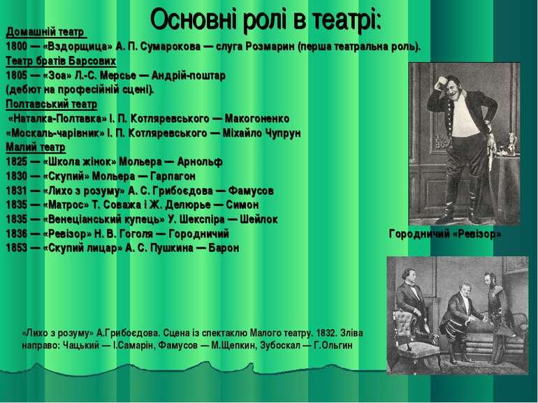 Основні ролі в театрі: Домашній театр 1800 — «Вздорщица» А. П. Сумарокова — с...