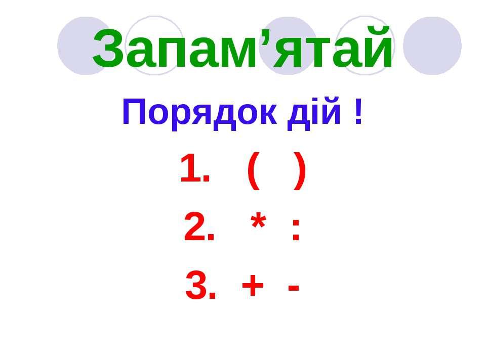 Запам'ятай Порядок дій ! 1. ( ) 2. * : 3. + -