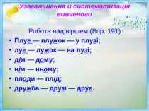 Узагальнення й систематизація вивченого Робота над віршем (Впр. 191) Плуг — п...
