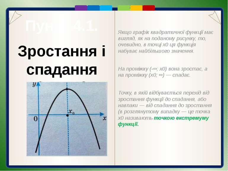Пункт 4.1. Приклади дослідження функцій Розв'язання. Оскільки гілки параболи,...