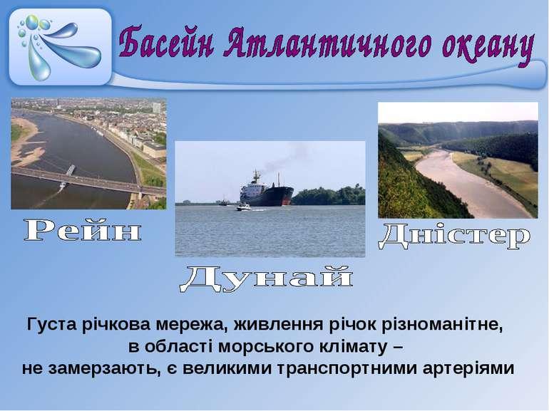 Густа річкова мережа, живлення річок різноманітне, в області морського клімат...