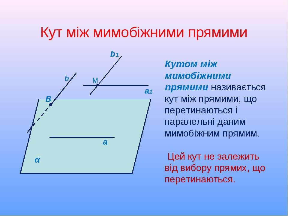 Кут між мимобіжними прямими M a1 α b1 а b Кутом між мимобіжними прямими назив...