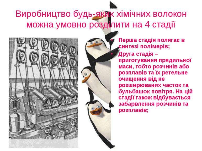Виробництво будь-яких хімічних волокон можна умовно розділити на 4 стадії Пер...
