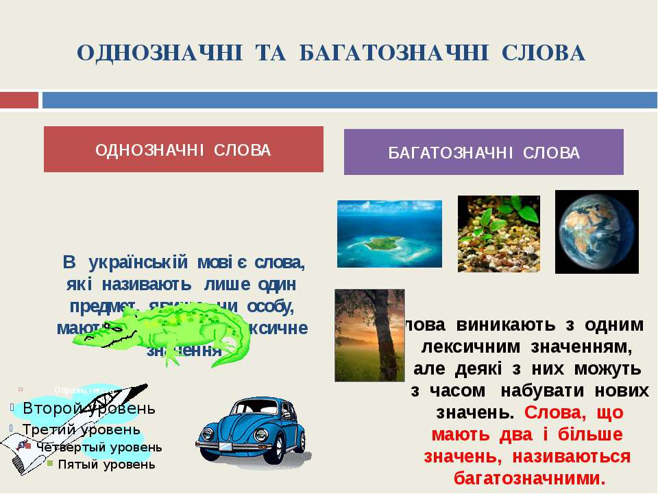 ОДНОЗНАЧНІ ТА БАГАТОЗНАЧНІ СЛОВА В українській мові є слова, які називають ли...