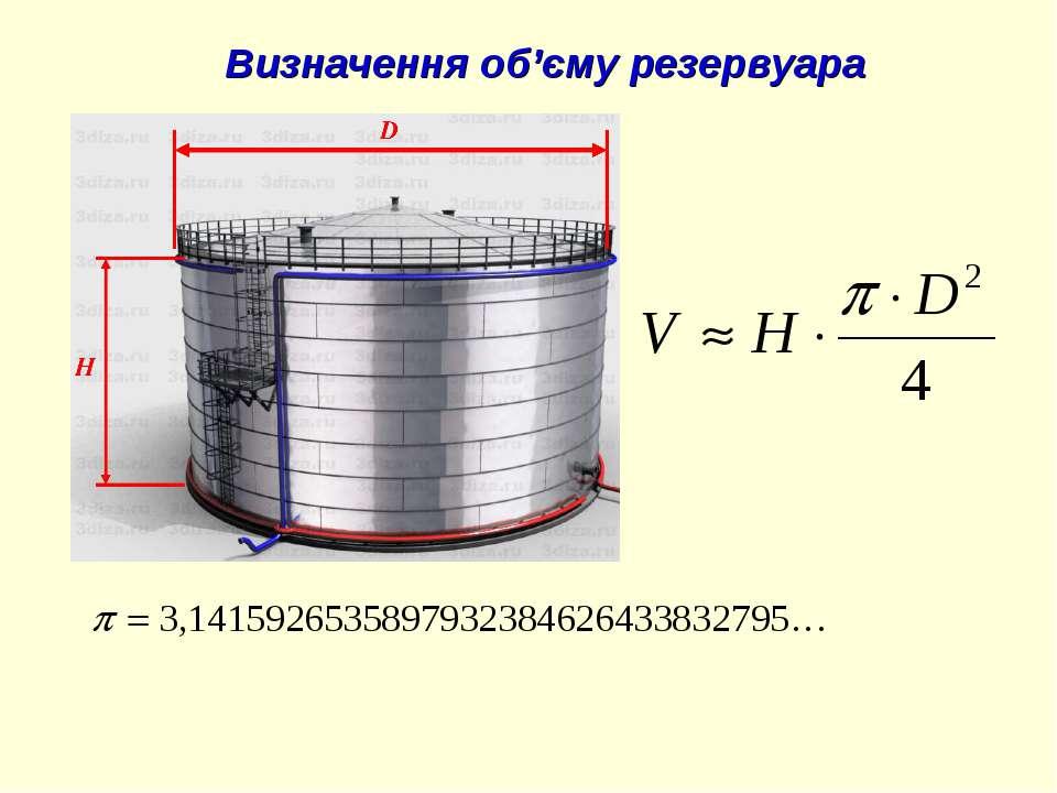 Визначення об'єму резервуара