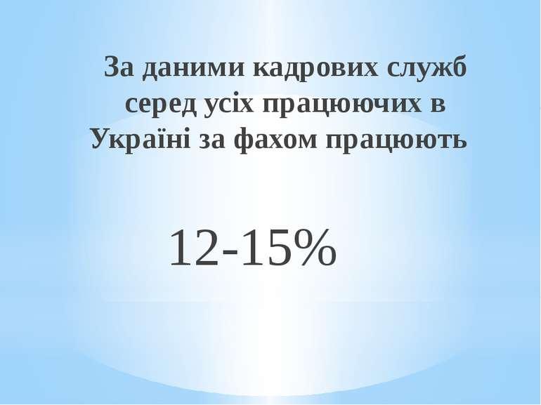 За даними кадрових служб серед усіх працюючих в Україні за фахом працюють 12-15%
