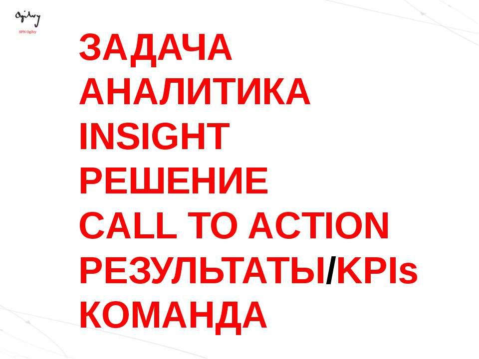 ЗАДАЧА АНАЛИТИКА INSIGHT РЕШЕНИЕ CALL TO ACTION РЕЗУЛЬТАТЫ/KPIs КОМАНДА