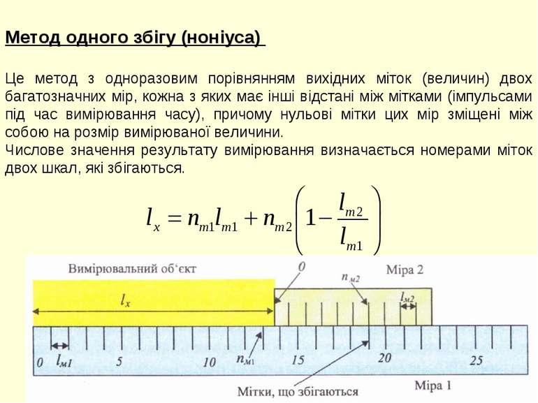 Метод одного збігу (ноніуса) Це метод з одноразовим порівнянням вихідних міто...