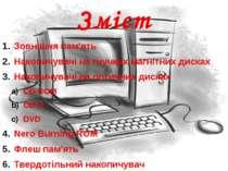Пристрої зовнішньої пам'яті можуть розміщуватись як в системному блоці комп'ю...