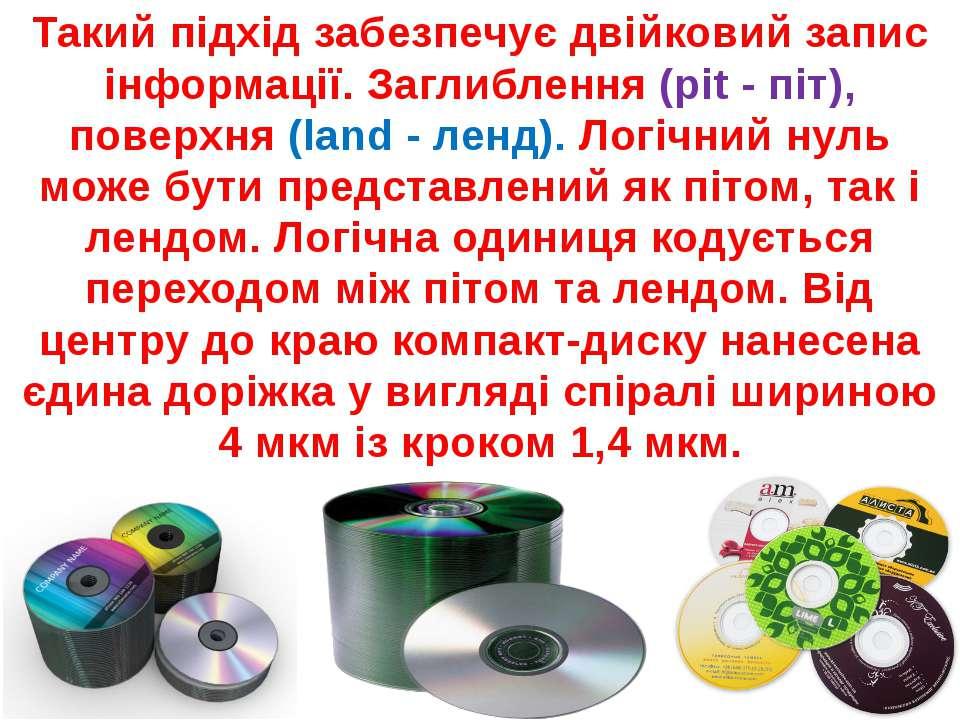 Поверхня диска розбита на три ділянки. Початкова (Lead-In) розташована в цент...