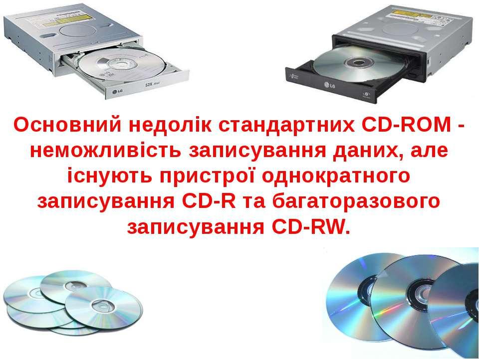 Накопичувач CD-R Зовні схожі на накопичувачі CD-ROM і сумісні з ними за розмі...