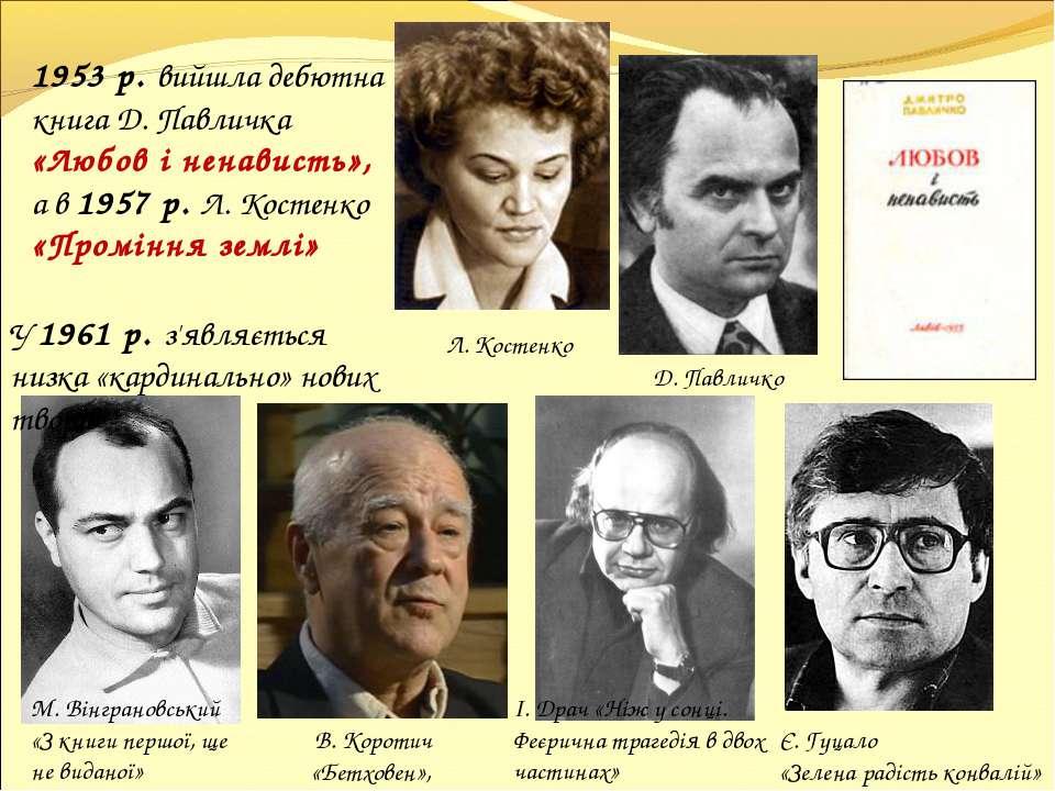 1953 р. вийшла дебютна книга Д. Павличка «Любов і ненависть», а в 1957 р. Л. ...