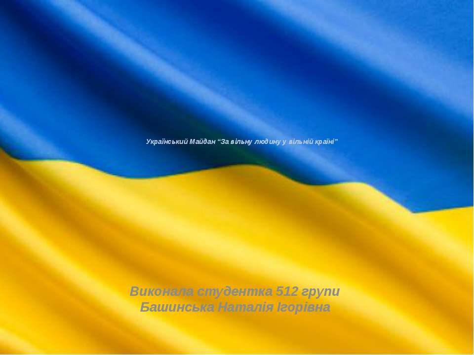 """Український Майдан """"За вільну людину у вільній країні"""" Виконала студентка 512..."""