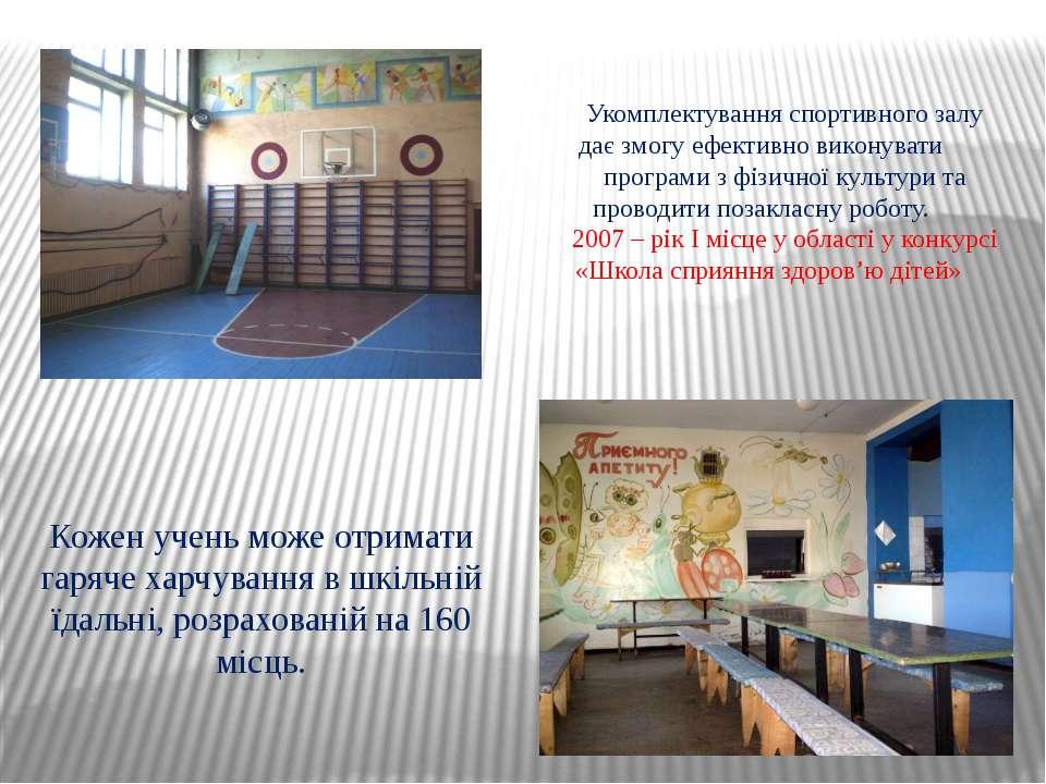 Укомплектування спортивного залу дає змогу ефективно виконувати програми з фі...