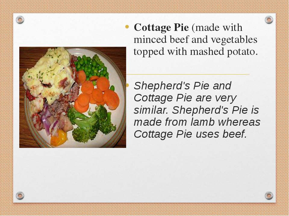 Cottage Pie (made with minced beef and vegetables topped with mashed potato. ...