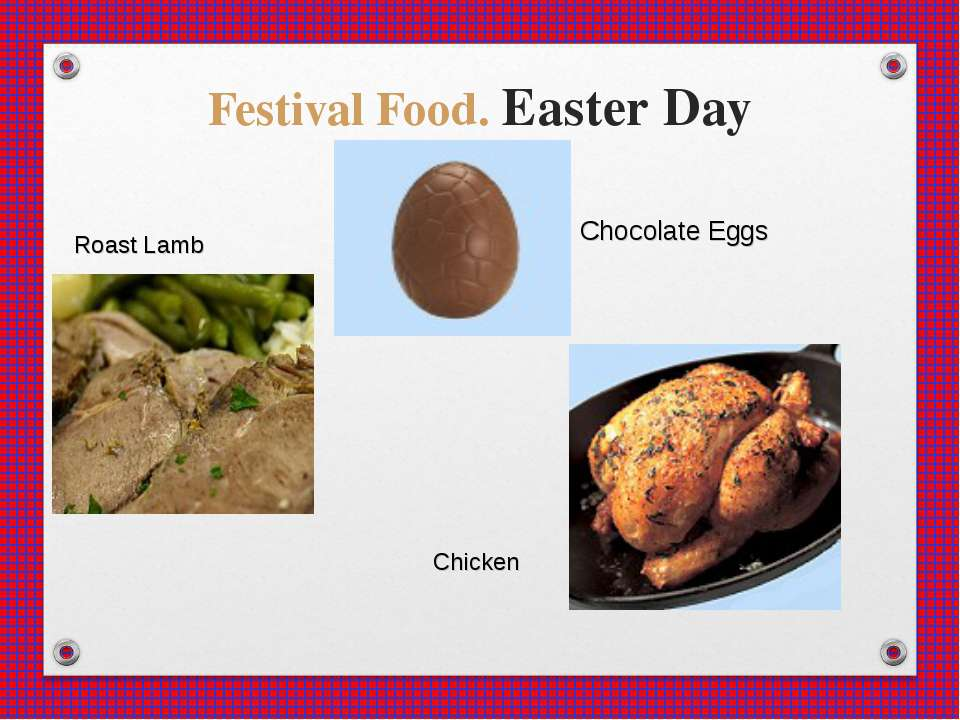 Festival Food. Easter Day Chocolate Eggs Roast Lamb Chicken
