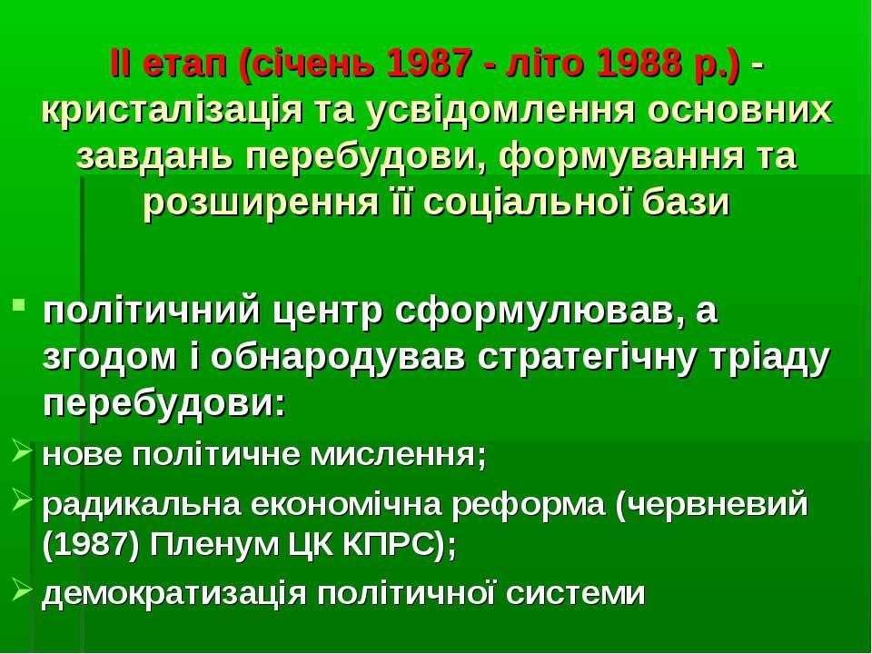 II етап (січень 1987 - літо 1988 р.) - кристалізація та усвідомлення основних...