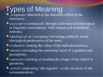 Types of Meaning pragmatic (directed at the desirable effect of the utterance...