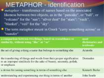 METAPHOR - identification metaphor - transference of names based on the assoc...