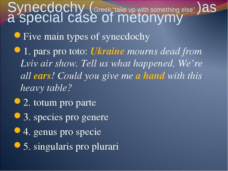 "Synecdochy (Greek ""take up with something else"" )as a special case of metonym..."