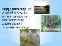 Забруднення води - це основний процес, що викликає деградацію річок, водосхов...