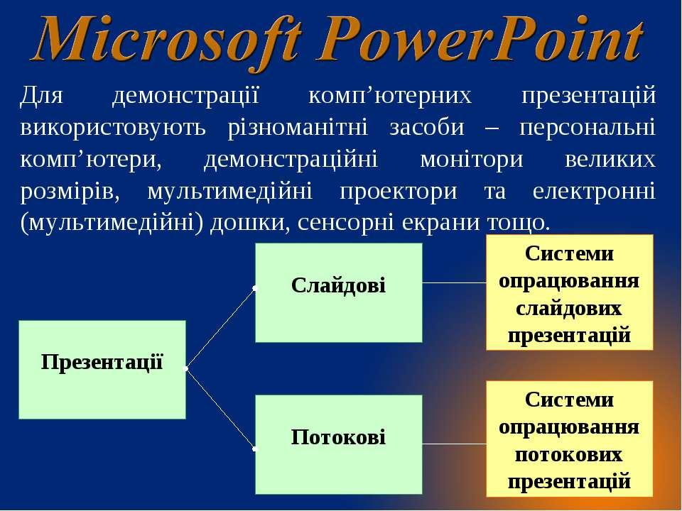 Для демонстрації комп'ютерних презентацій використовують різноманітні засоби ...
