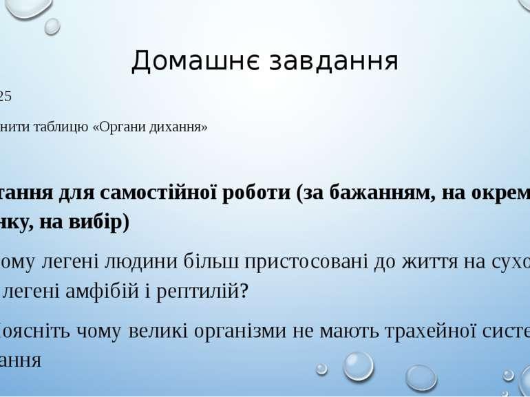 Домашнє завдання Пар. 25 Заповнити таблицю «Органи дихання» Питання для самос...