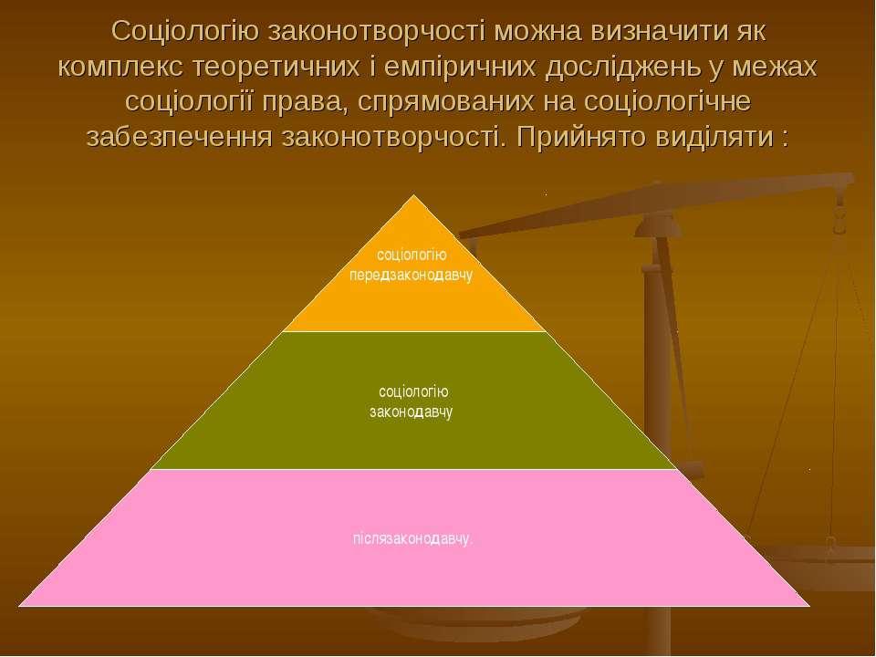 Соціологію законотворчості можна визначити як комплекс теоретичних і емпіричн...